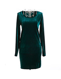 Trendy Dark Green Pure Color Decorated Long Sleeve O Neckline Tight Dress