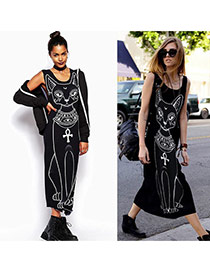 Trendy Black Cat Pattern Decorated Simple Design Sleeveless O Neckline Dress