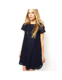 Fashion Dark Blue Flower Pattern Decorated Hollow Out Short Sleeve Dress