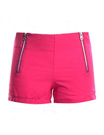 Fashion Rose Red Double Zip Decorated Simple Design Pure Color Shorts