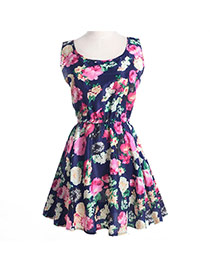 Fashion Navy Color Flower Pattern Decorated Simple Design Sleeveless Dress