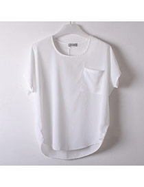 Fashion White Pocket Decorate Simple Pure Color Perspective T-shirt