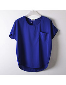 Fashion Sapphire Blue Pocket Decorate Simple Pure Color Perspective T-shirt