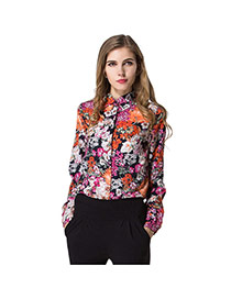 Trendy Multicolor Flower Pattern Decorated Simple Design Long Sleeve Shirt