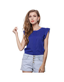 Trendy Sapphire Blue O Shape Neckline Design Pure Color Short Sleeve Shirt