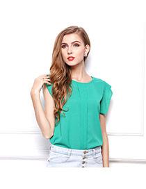 Fashion Fruit Green O Shape Neckline Design Pure Color Short Sleeve Shirt