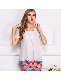 Fashion White O Shape Neckline Design Pure Color Short Sleeve Shirt