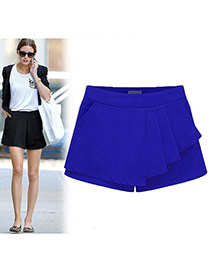 Trendy Sapphire Blue Pure Color Design Simple Design Bilayer Shorts