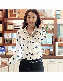Fashion White Star Pattern Decorated Simple Design Long Sleeve Shirt