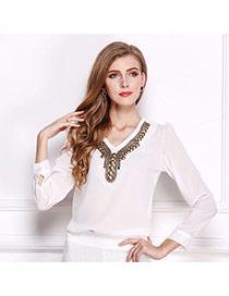 Trendy White V Shape Neckline Decorated Simple Design Long Sleeve Shirt