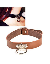 Elegant Coffee Metal Button Decorated Pure Color Simple Choker