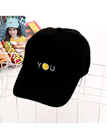 Fashion Black Letter& Smiling Face Decorated Pure Color Baseketball Hat
