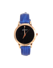 Fashion Blue Shimmering Powder Decorated Pure Color Strap Watch