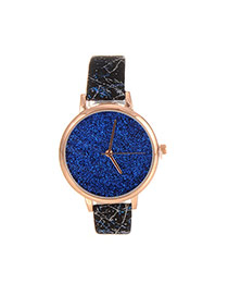 Delicate Blue Shimmering Powder Decorated Pure Color Strap Watch