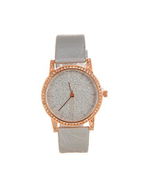 Delicate Silver Color Shimmering Powder Decorated Pure Color Strap Watch