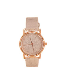 Delicate Champagne Shimmering Powder Decorated Pure Color Strap Watch