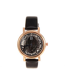 Delicate Black Hollow Out Eiffel Tower Shape Pattern Decorated Simple Watch