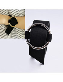 Exaggerated Black+silver Color Round Button Shape Decorated Pure Color Choker