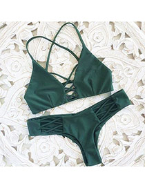 Fashion Green Bandage Decorated Simple Design Pure Color Bikini