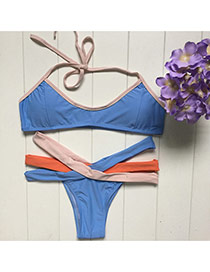 Fashion Blue Bandage Decorated Color Matching Simple Design Bikini