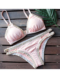 Trendy Pink Lace Edge Decorated Simple Design Pure Color Design