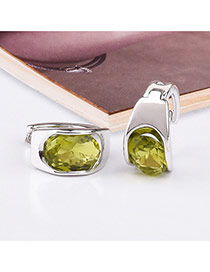 Trendy Green+silver Color Diamond Decorated Simple Desgin Pure Color Earrings