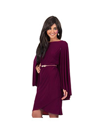 Sexy Claret-red Pure Color Decorated Cloak Sleeve Tight Dress(withou Waist Belt)