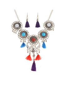 Fashion Multi-color Tassel& Round Shape Decorated Simple Design Jewelry Sets