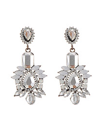 Elegant Gray Geometric Shape Diamond Decorated Simple Earrings