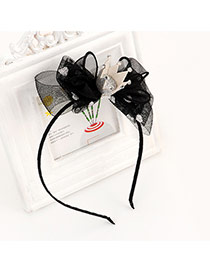 Sweet Black Crown Decorated Bowknot Shape Simple Hair Clip