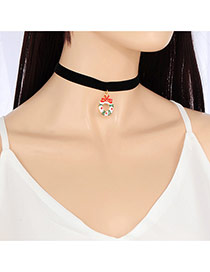Fashion Black Round Shape Pendant Decorated Pure Color Choker