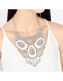 Personality White Round Shape Decorated Short Chain Necklace