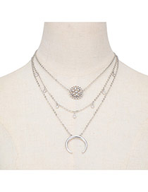 Trendy Silver Color Cresent Moon& Flower Shape Pendant Decorated Multilayer Necklace