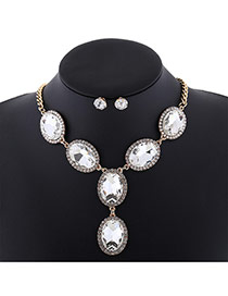 Fashion Golden Color Oval Shape Diamond Decorated Short Chain Jewelry Sets