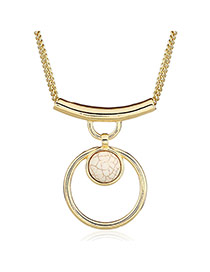 Fashion White+golden Color Hollow Out Round Shape Pendant Decorated Simple Design Necklace