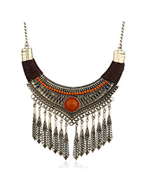 Fashion Brown Vertical Shape Pendant Decorated Simple Tassel Necklace