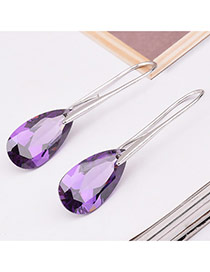 Elegant Purple Water Drop Shape Diamond Decorated Simple Earrings