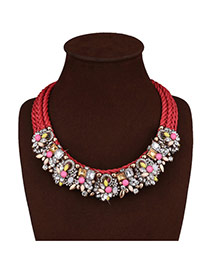 Vintage Red Diamond Decorated Flower Shape Design Hand-woven Necklace