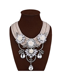 Fashion White Waterdrop Shape Diamond Decorated Flower Shape Hand-woven Jewelry Sets