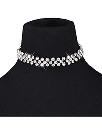 Fashion White Full Diamond Decorated Short Chain Simple Necklace