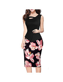 Fashion Black+pink Painting Flower Pattern Decorated Sleeveless Patchwork Pencil Dress