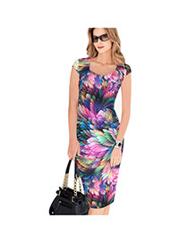 Sexy Multi-color Feather Pattern Decorated Short Sleeve Package Hip Pencil Dress