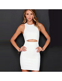 Sexy White Pure Color Design Sleeveless Bare-midriff Package Hip Dress