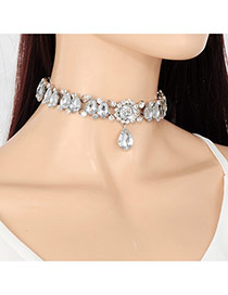 Vintage Silver Color Hollw Out Waterdrop Shape Decorated Simple Choker