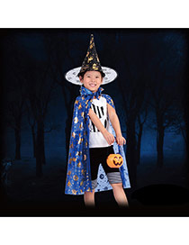 Exaggerated Blue Pumpkin Pattern Decorated Perspective Halloween Cloak