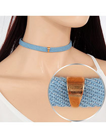 Vintage Blue Geometric Metal Decorated Pure Color Choker