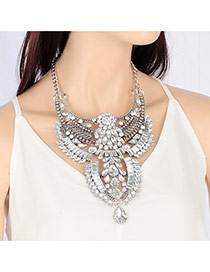 Exaggerated Silver Color Water Drop Shape Diamond Decorated Multi-layer Necklace