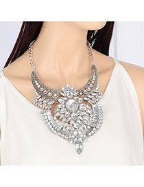Fashion Silver Color Water Drop Shape Diamond Decorated Short Chain Simple Necklace