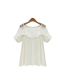Lovely White Pure Color Design Short Sleeve Hollow Out Chiffon Blouse