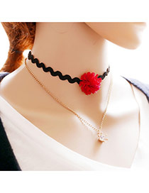 Exaggerated Black Crown&flower Pendant Decorated Double Layer Choker